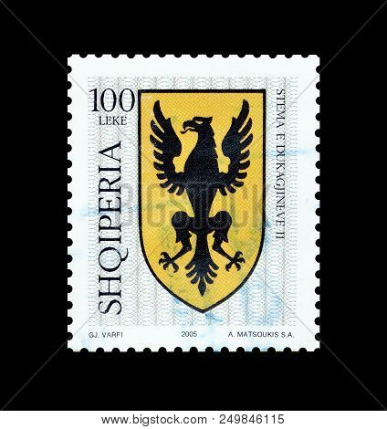 Albania - Circa 2005: Cancelled Postage Stamp Printed By Albania, That Shows Coat Of Arms.
