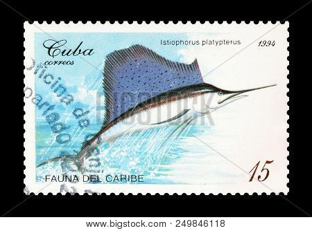 Cuba - Circa 1994 : Cancelled Postage Stamp Printed By Cuba, That Shows Indo Pacific Sailfish.