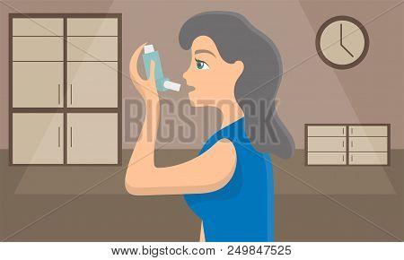 Woman Using A Spray Inhaler To Stop Asthma Attack. Bronchial Disease Awareness Concept. Vector Illus