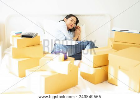 Tired Young Casual Business Woman Working Small Business Online Packing Her Sleep, Teenager Business