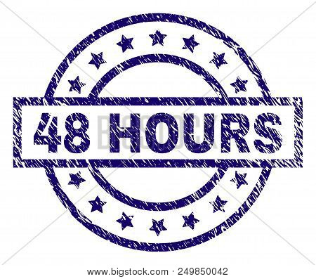 48 Hours Stamp Seal Watermark With Distress Texture. Designed With Rectangle, Circles And Stars. Blu