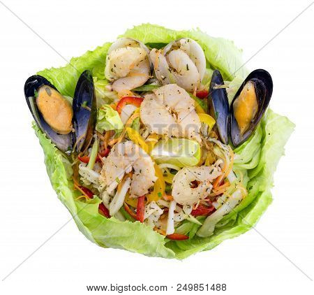 Healthy Shrimps Salad With Green Mix And Lemon Wrapped In Lettuce. Top View Isolated On White Backgr