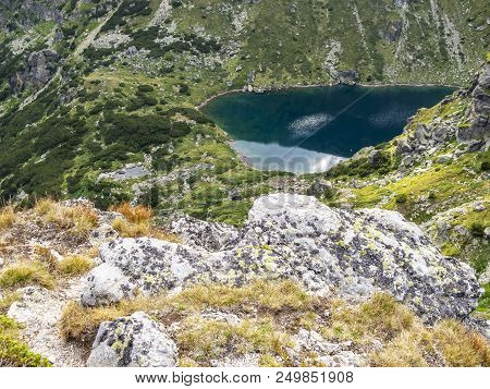 Awesome Rocky View To The Beautiful Lake Lower Chanak Or Lake Of Contemplation At Rila Mountains, Bu