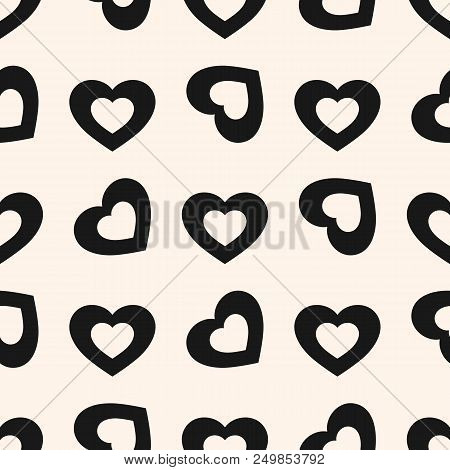 Valentines Day Background. Vector Seamless Pattern With Black Rotated Hollow Hearts On White Backdro