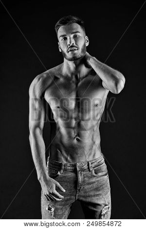 Fitness Concept. Fitness Man. Fit Man After Fitness Training. Fitness And Health. Keeping His Body F