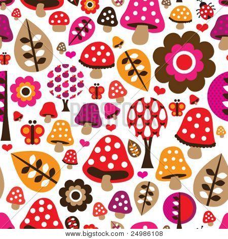 Seamless retro mushroom flower autumn pattern illustration in vector