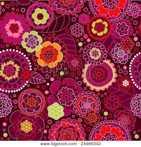 Seamless flower pink retro background pattern in vector