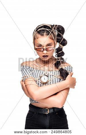 Portrait of cool crazy brunette fashionable girl in sunglasses, casual hairdo on black background. Woman like bitch with pretty makeup big lips poster