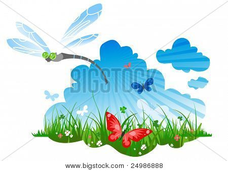 summer meadow with a dragonfly