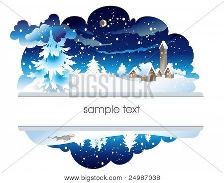 Winter nighttime landscape
