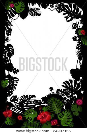 Tropical frame with flowers