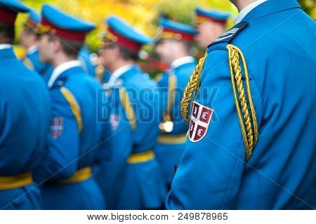 Belgrade, Serbia - July 14, 2018: Close Up On The Coat Of Arms Of The Serbian Army On A Soldiers For