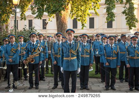 Belgrade, Serbia - July 14, 2018: Serbian Army Band In Formal Uniform And Position Waiting To Perfor