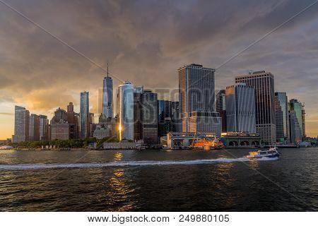 New York, Ny. Usa - June 4, 2018. Panorama View Of  Nyc Lower Manhattan Skyline With Sailboat Passin