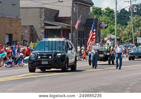 Mendota, Mn/usa - July 14, 2018: Law Enforcement And Military Veterans Lead Procession At Mendota Da