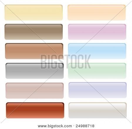Glossy button set in pastel and light colors with reflection