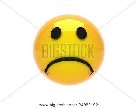 Isolated glossy 3d standard sad smiley