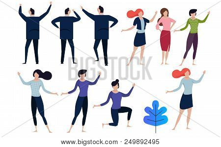 Office Concept Business People Vector Illustration Flat Design. Collection In Many Pose Man And Woma