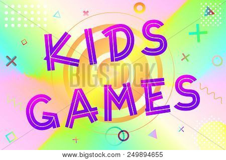 Kids Games Text, Colorful Lettering In Modern Gradient On Bright Geometric Pattern Background, Stock