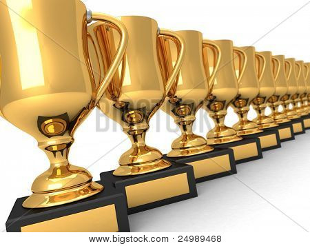 Many gold trophies in a row over white background