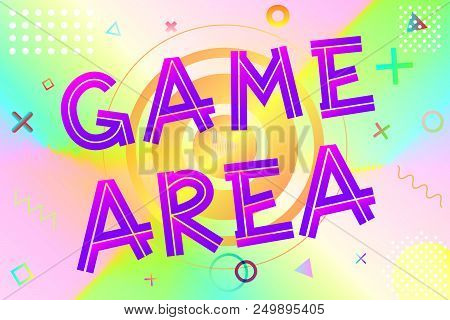 Game Area Text, Colorful Lettering In Modern Gradient On Bright Geometric Pattern Background, Stock