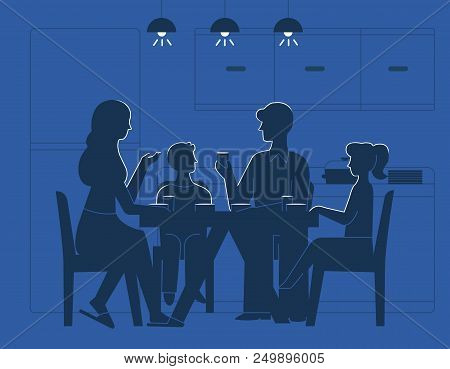 Family At Dinner Table Vector Illustration. Silhouettes Of Mother, Father And Son With Daughter Kids