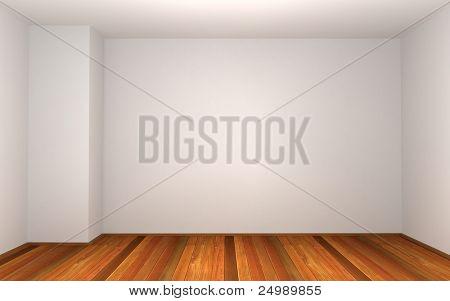 3d empty room with pillar in the corner