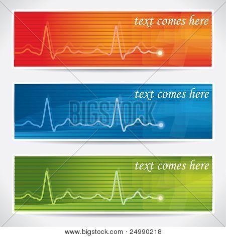 Abstract, vector cardiogram banner set
