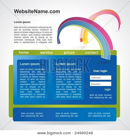 Web2 website template with abstract rainbow