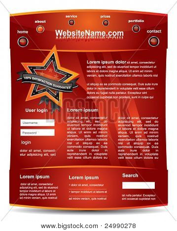 Cool editable web2 red website template with satisfaction guarantee sign - vector