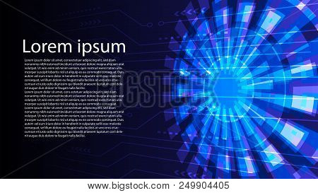 Abstract Digital Circuit Background Vector Design.perspective Digital Circuit Line With Power Core B