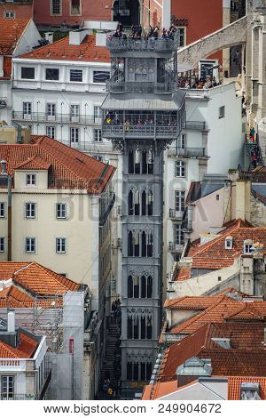 Long Shot Whole View Of The Santa Justa Lift In The Streets Of Lisbon
