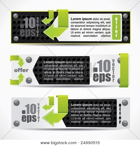 Modern web2 metal banner set with green arrows