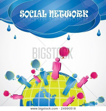 Social network vector background composition with people standing on the planet