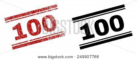 100 Stamp Seal Print With Red Corroded And Clean Black Version. Red Vector Rubber Print Of 100 Tag W