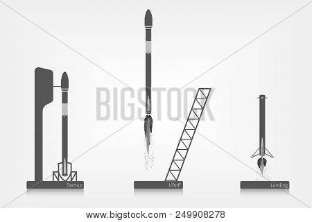Rocket At The Cosmodrome, Startup, Liftoff And Landing In Flat Design.