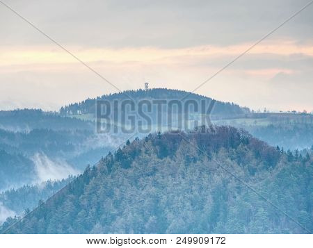 Treetops  Silhouette Of The Top Of A Hills In The Fog, Feel The Silence Of The Misty Valley In The M