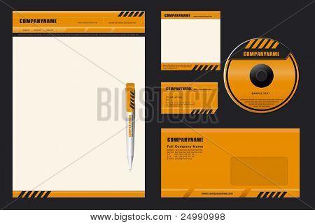 Template Vector (DANGER) - blank, card, pen, cd, note-paper, envelope