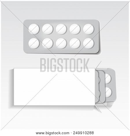 White Package With Tablets, Blisters Pack Medicines Mock Up Vector Template. Painkillers, Antibiotic