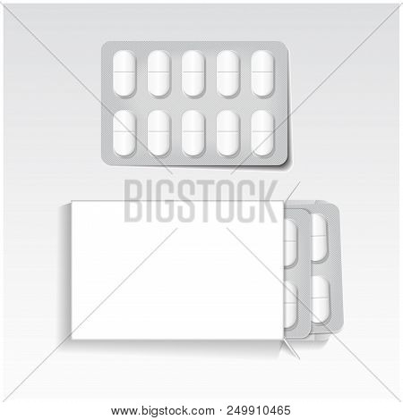 White Package With Oval Tablets, Blisters Pack Medicines Mock Up Vector Template. Painkillers, Antib