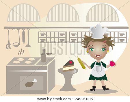 Happy  little cook on the kitchen- vector illustration