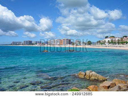 Beach And Village Of Blanes At Costa Brava,catalonia,mediterranean Sea,spain