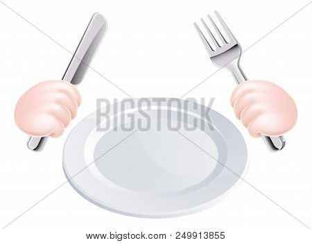 Cartoon Illustration Of Hands Holding A Knife And Fork With Plate