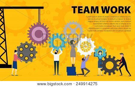 Business Teamwork Concept. Illustration Of Business People On Cog Wheel Showing Team Work. Business