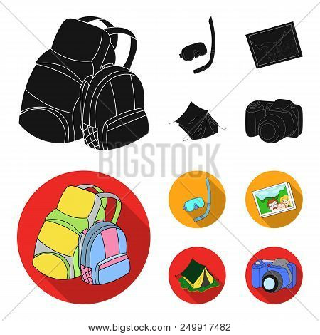 Travel, Vacation, Backpack, Luggage .family Holiday Set Collection Icons In Black, Flat Style Vector