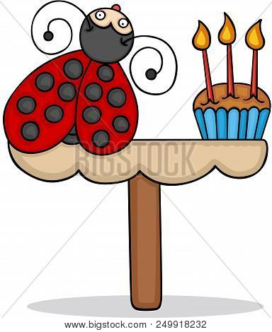 Scalable Vectorial Representing A Card Template With A Cute Ladybug With Birthday Cake, Element For