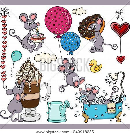 Scalable Vectorial Representing A Happy Mouse Set Digital Elements, Element For Design, Illustration
