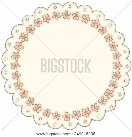 Scalable Vectorial Representing A Vintage Round Flower Lace Label, Element For Design, Illustration