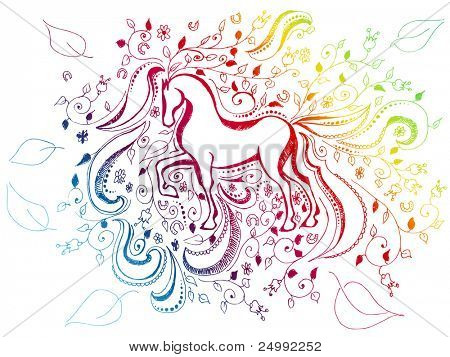 abstract floral sketchy doodle rainbow background with horse