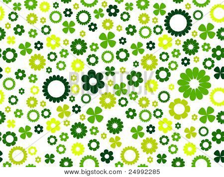 seamless green floral background